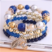 occidental style fashion  concise all-Purpose trend gorgeous Beads Metal leaves multilayer woman bracelet