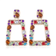 occidental style  Metal concise geometry Modeling shine gem temperament exaggerating ear stud