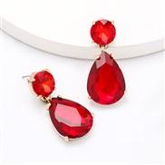 ( red)personality wind drop Alloy diamond glass diamond fully-jewelled earrings woman occidental style super brief ear s