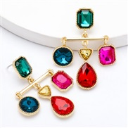 ( Color)fashion creative personality Alloy diamond glass diamond earrings woman occidental style temperament super ear s