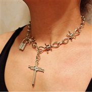 ( ++ necklace  Silver)occidental style necklace  pendant necklace  punk wind head clavicle chain