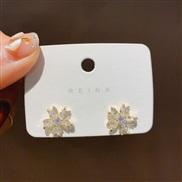 ( Silver needle Gold)silver apan and Korea fashion all-Purpose zircon snowflake ear stud samll trend earrings diamond ar