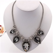 ( transparent Black )retro drop gem occidental style Clothing Korea short style necklace exaggerating crystal clavicle c