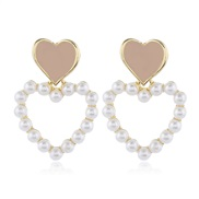Korean style fashion  sweet colorOL love Pearl temperament ear stud