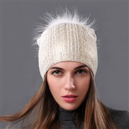( white++ white)occidental style style  Winter warm wool knitting woman gilded silver color woman raccoon leather woolen
