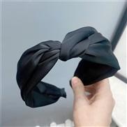 ( black)brief pure color medium Headband sweet temperament width head Cloth Headband woman