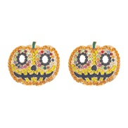 (yellow color ) earrings  personality Metal enamel eyes ear stud
