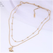 fine Korean style fashion sweetOL concise butterfly Beads Double layer titanium steel personality woman necklace