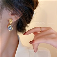 ( Silver needle  Gold Set in drill)silver diamond geometry earrings retro brief palace wind fashion earring temperament