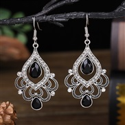 (  black)  creative hollow temperament earring  fully-jewelled flower earrings woman occidental style fashion