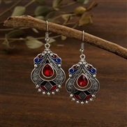 (  red)creative color enamel palace wind earrings woman   personality