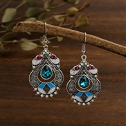 (  ake Blue )creative color enamel palace wind earrings woman   personality