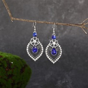 (  sapphire blue )  Chinese style drop fully-jewelled personality earring  fashion temperament earrings