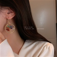 ( Gold)Korea samll tree geometry woman small fresh earrings fashion temperament ethnic style