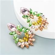 (igh color )occidental style fashion temperament Alloy diamond glass diamond flowers geometry earrings woman exaggeratin