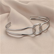 (y )ins wind trend stainless steel four square opening bangle brief personality geometry