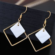fine Korean style fashion woman ear stud  concise Shells geometry Modeling personality square earrings