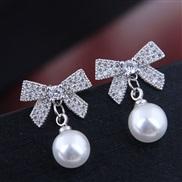 fine  Korean style fashion conciseOL flash diamond bow Pearl personality woman ear stud