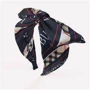 ( black)Korea retro grid Headband  brief Cloth Word bow  fashion temperament woman