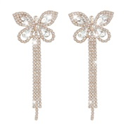 ( Gold)occidental style claw chain earrings  fully-jewelled butterfly tassel Earring temperament all-Purpose Ladies ear