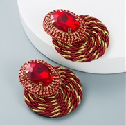 ( red)occidental style wind colorful diamond series personality exaggerating Round glass diamond earrings handmade weave
