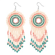( Green color)Bohemia wind color handmade beads earrings  ethnic style  temperament long style tassel earring new