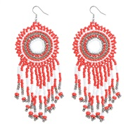 (red ++)Bohemia wind color handmade beads earrings  ethnic style  temperament long style tassel earring new