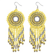(yellow color )Bohemia wind color handmade beads earrings  ethnic style  temperament long style tassel earring new