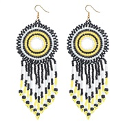 (black and whiteyellow )Bohemia wind color handmade beads earrings  ethnic style  temperament long style tassel earring