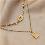 ( Goldx) temperament elegant stainless steel eyes pendant Double layer necklace titanium steel trend clavicle chain