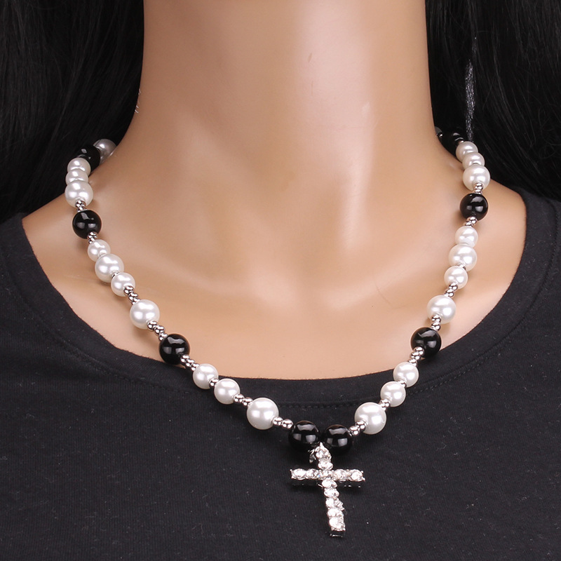 ( Set in drill necklace)occidental style stainless steel pendant necklace  diamond cross pendant glass Pearl ornament cl