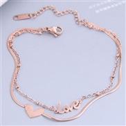 fine Korean style fashion sweetOL love titanium steel Double layer personality woman bracelet