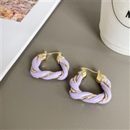 (purple)occidental styleV wind leather twisted circle earrings woman brief triangle retro high fashion buckle arring