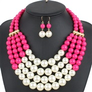 ( Pink) multilayer multicolor Pearl necklace  occidental style exaggerating fashion personality creative style women cla