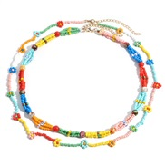 occidental style Bohemia retro wind beads necklace multilayer handmade weave flowers lovely woman chain new gift