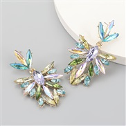 ( Color)fashion colorful diamond series Alloy diamond Rhinestone flowers fully-jewelled earrings woman occidental style