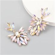 ( Pink)fashion colorful diamond series Alloy diamond Rhinestone flowers fully-jewelled earrings woman occidental style e