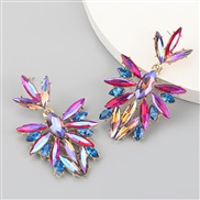 ( rose Red)fashion colorful diamond series Alloy diamond Rhinestone flowers fully-jewelled earrings woman occidental sty