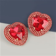 ( red)occidental style exaggerating Alloy diamond heart-shaped glass diamond earrings woman super fully-jewelled temper