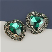 ( green)occidental style exaggerating Alloy diamond heart-shaped glass diamond earrings woman super fully-jewelled tempe