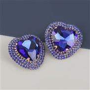 ( blue)occidental style exaggerating Alloy diamond heart-shaped glass diamond earrings woman super fully-jewelled temper