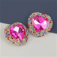 ( rose Red)occidental style exaggerating Alloy diamond heart-shaped glass diamond earrings woman super fully-jewelled te