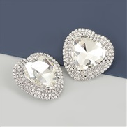 ( Silver)occidental style exaggerating Alloy diamond heart-shaped glass diamond earrings woman super fully-jewelled temp