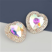 (AB color)occidental style exaggerating Alloy diamond heart-shaped glass diamond earrings woman super fully-jewelled tem