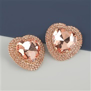 ( Rose Gold)occidental style exaggerating Alloy diamond heart-shaped glass diamond earrings woman super fully-jewelled t