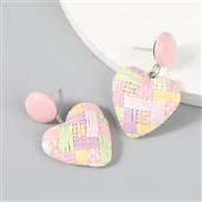 ( Pink)ins wind occidental style Artificial weave heart-shaped earring Korean style earrings woman lovely Earring