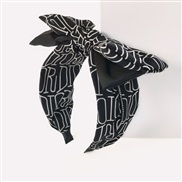 ( black)Korea woman temperament  print Word Cloth bow Headband  Double layer width head