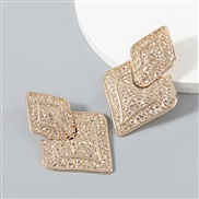 ( Gold)fashion multilayer rhombus Alloy carving personality pattern geometry earrings woman occidental style brief Earri