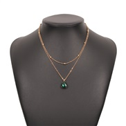 ( Gold)occidental style fashion Alloy small fresh pendant necklace geometry brief retro Double layer clavicle chain woma