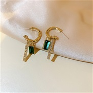 ( Silver needle green)silver occidental style samll personality diamond color zircon earring earrings circleins new styl
